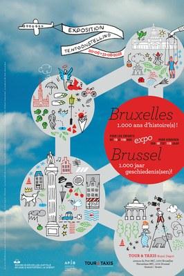 Affiche expo Bruxelles 1000 ans d'histoires à Tour et Taxis